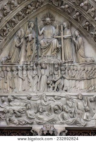 Paris, France - 05/10/2010 -  Notre Dame - Last Judgment Portal Detail