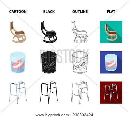 Denture, Rocking Chair, Walker, Old Tv.old Age Set Collection Icons In Cartoon, Black, Outline, Flat