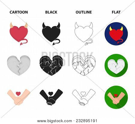Evil Heart, Broken Heart, Friendship, Rose. Romantic Set Collection Icons In Cartoon, Black, Outline