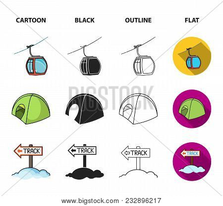 Funicular, Tent, Road Sign, Snow Cannon. Ski Resort Set Collection Icons In Cartoon, Black, Outline,