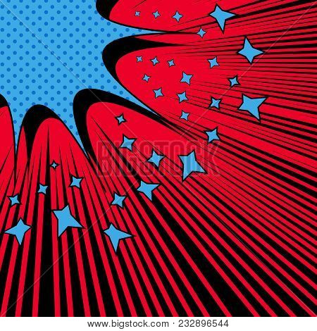 Comic Page Light Template With Blue Speech Bubble Stars Halftone Black Rays Humor Effects On Red Bac