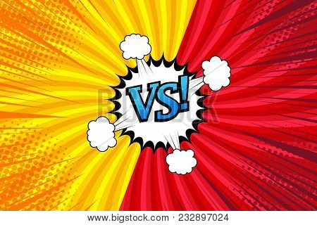Comic Versus Bright Template With Two Opposite Sides, Speech Bubble, Clouds, Rays And Radial Effects