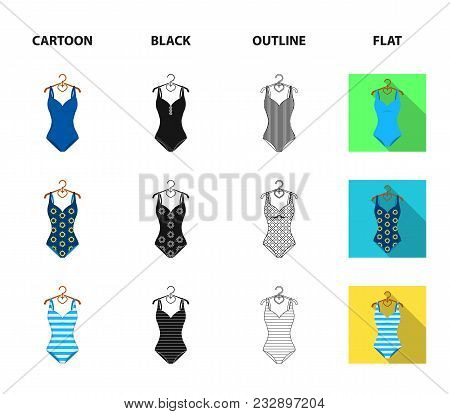 Different Kinds Of Swimsuits. Swimsuitsset Collection Icons In Cartoon, Black, Outline, Flat Style V
