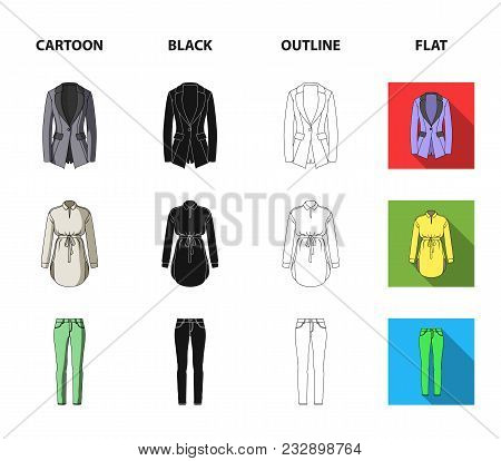 Women Clothing Cartoon, Black, Outline, Flat Icons In Set Collection For Design.clothing Varieties A