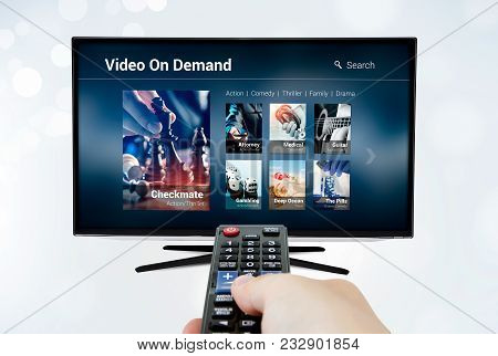 Video On Demand Vod Application Or Service On Smart Tv. Television Multimedia Stream Internet Concep