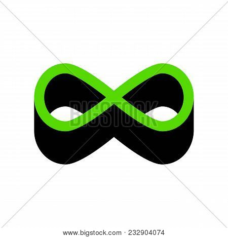 Limitless Symbol Illustration. Vector. Green 3d Icon With Black Side On White Background. Isolated.