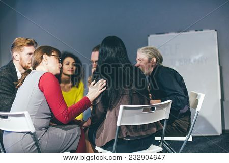 Group Therapy Of Alcohol Addicted People. Help Comcept. Toned .