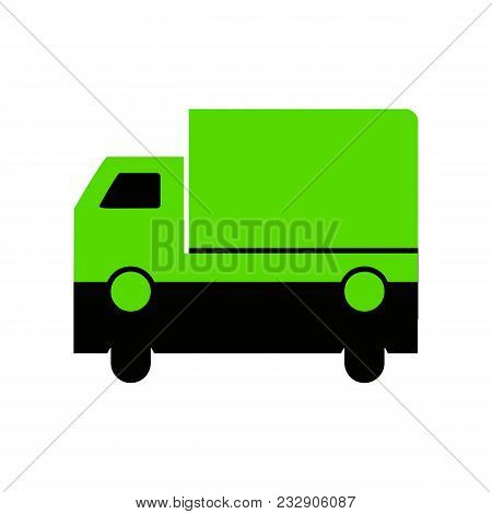 Delivery Sign Illustration. Vector. Green 3d Icon With Black Side On White Background. Isolated.