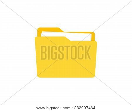 Opened Folder With Documents. Folders Flat Design, Vector Illustration On Background
