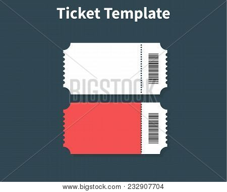 Ticket Template. Ticket Element Guideline For Design. Clean Realistic Pass Mockup. Flat Design, Vect