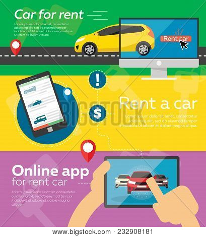 Rent A Cars And Trading Cars In Flat Design Web Banners Elements. Keys To The Car On Rent. Rental Ca