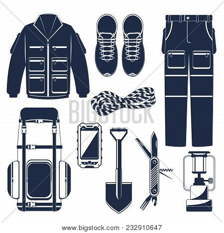 Hiking Set Of Icons And Hiking Equipment. Hike, Walking And Travel. Extreme Tourism. Colorful Illust