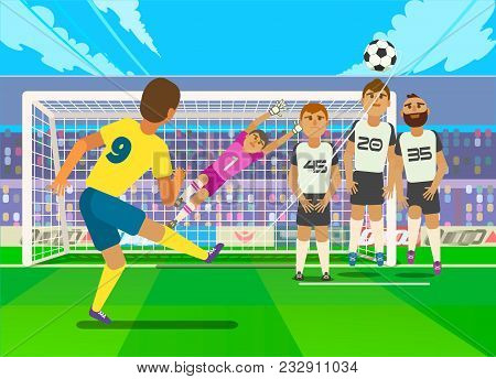 Vector Illustration Of Football Player Kicking Penalty To Gate Of Opposite Team.
