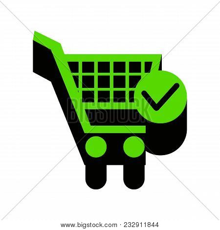 Shopping Cart With Check Mark Sign. Vector. Green 3d Icon With Black Side On White Background. Isola