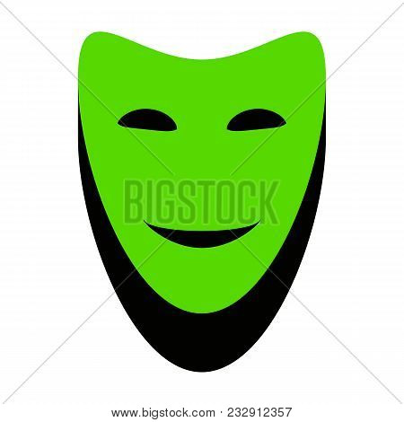 Comedy Theatrical Masks. Vector. Green 3d Icon With Black Side On White Background. Isolated.