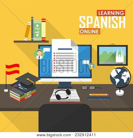 Flat Design Raster Illustration Concept Of Learning Spanish Language Online, Distance Education And