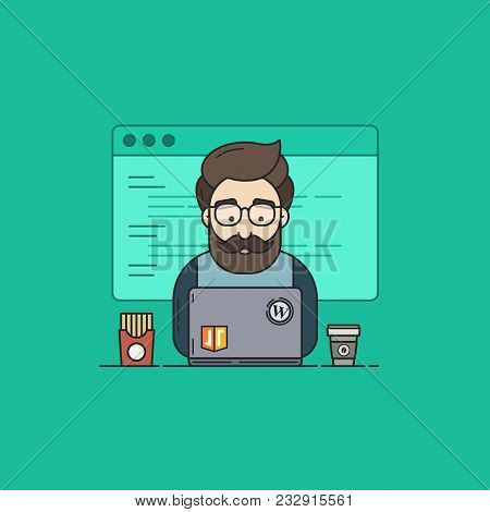 Flat Vector Illustration In Outline Style Of A Coder Or Geek In Programming Participates In Hackatho