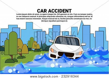 Flooded Car Accident With Vehicle Trying To Drive Against Flood Water In Street Vector Illustration