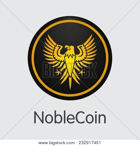 Vector Noblecoin Cryptographic Currency Element. Mining, Coin, Exchange. Vector Colored Logo Of Nobl