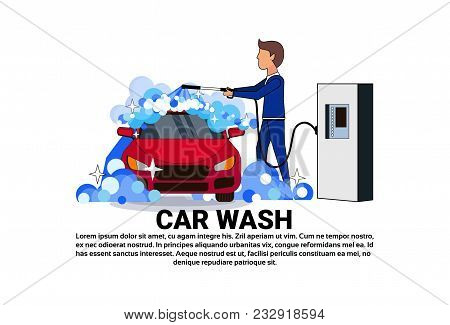 Carwash Service Icon With Worker Cleaning Vehicle Over Copy Space Background Flat Vector Illustratio