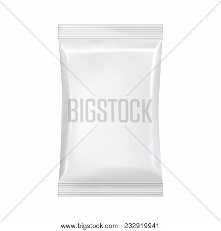 Blank Packaging Isolated On White Background. Foil Food Snack Bag For Coffee, Chips. Package Templat