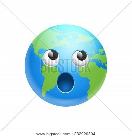 Cartoon Earth Face Screaming Emotion Icon Funny Planet Expression Isolated Flat Vector Illustration