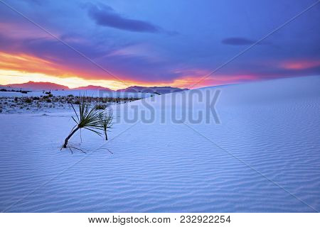White Sands National Monument In New Mexico, At Sunset.