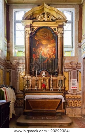 Lisbon, Portugal - October 24, 2016: Santo Antonio de Lisboa Church. Saint Anthony of Lisbon aka Padua or Padova. Built on the saint birth location. Altar on the Sacristy that access the birth crypt