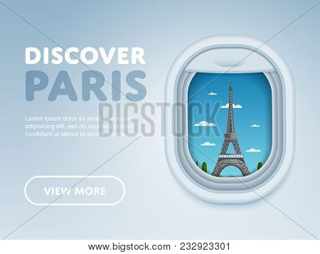 Discover Paris. Traveling The World By Plane. Tourism And Vacation Theme. Modern Flat Design Banner.