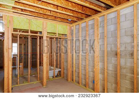 Remodeling A Home Bathroom, Moving Plumbing For New Sinks Interior Wall Framing With Piping Installa