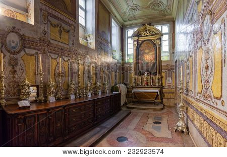 Lisbon, Portugal - October 24, 2016: Santo Antonio de Lisboa Church, built on the saint birth location. Saint Anthony of Lisbon aka of Padua or Padova. View of Sacristy that access the birth crypt