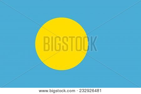 Flag Of Palau Official Colors And Proportions, Vector Image