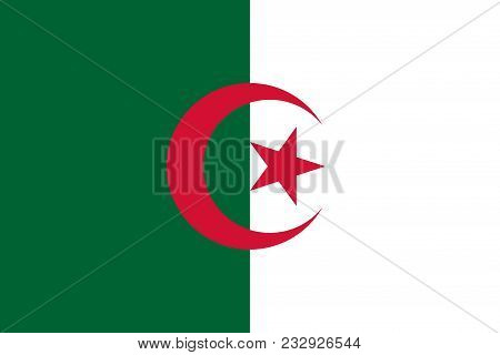 Flag Of Algeria Official Colors And Proportions, Vector Image