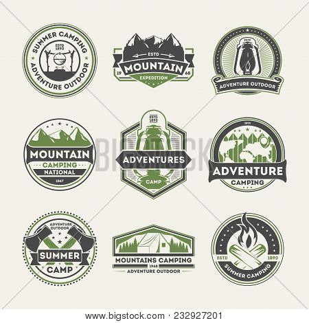 Adventure Outdoor Vintage Isolated Label Set. Summer Camping Symbols, Mountain Explorer Sign, Touris