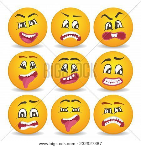 Cute Smiley Faces With Different Facial Expressions. Emoticon Cartoon Set Isolated Illustration. Hap