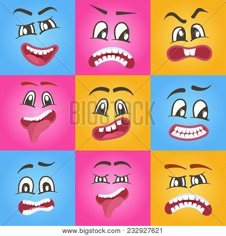 Funny Smileys Faces Isolated Icon Set. Happiness, Anger, Joy, Fury, Sad, Playful, Fear, Surprise Smi