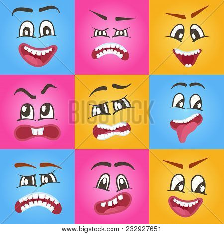 Emoticons Or Funny Smileys Icons Set. Happiness, Anger, Joy, Fury, Sad, Playful, Fear, Surprise Smil