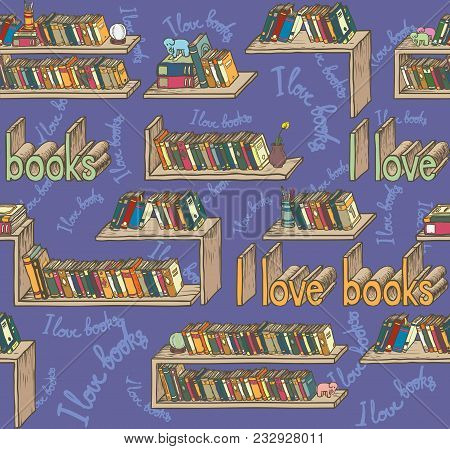 Seamless Pattern With Bookshelves And Books On Violet Background