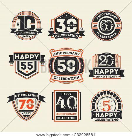 Anniversary Celebration Retro Isolated Label Set. Birthday Party Logo, Holiday Festive Celebration E