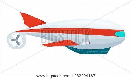 Aerostat Airship Icon Isolated On White Background Illustration. Modern Zeppelin, Aerial Vehicle Dir