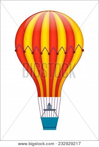 Colorful Air Balloon Icon Isolated On White Background Illustration. Aerostat Airship, Modern Zeppel