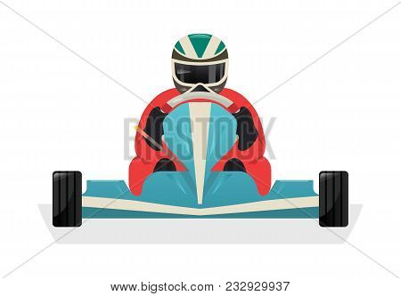 Go Kart Racer Icon Isolated Illustration. Extreme Auto Sport Competition, Road Trophy Race Champions