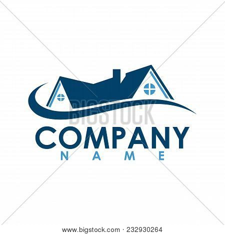Real Estate With Swirl Vector Logo Design Template. House Abstract Concept Icon. Realty Construction