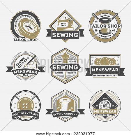 Tailor Sewing Company Vintage Isolated Label Set. Menswear Studio Badge, Tailor Shop Emblem, Premium