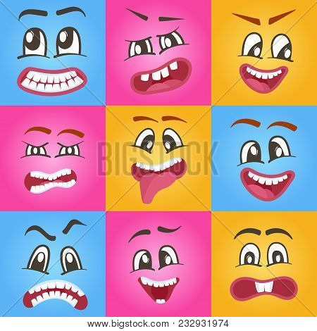 Emoji characters set with different expressions. Happiness, anger, joy, fury, sad, playful, fear, surprise smiley, eyes and mouth, funny comic faces. Cartoon cute emoticon isolated illustration poster