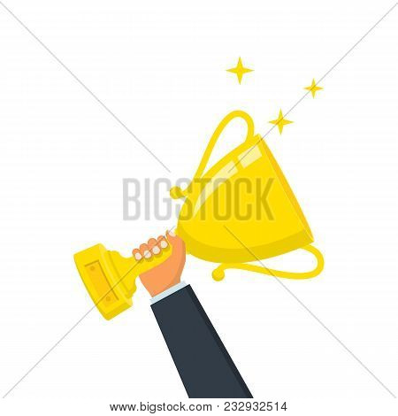 Winning Cup In Hand. Gold Trophy. Symbol Of Success, Winning, Championship. Award Bowl. Vector Illus