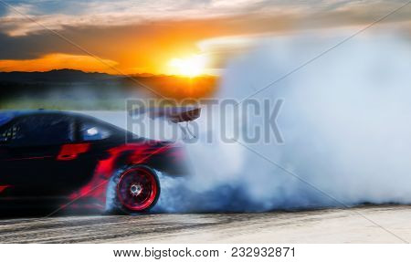 Sport Car Wheel Drifting And Smoking On Track.sport Concept,drifting Car Concept.