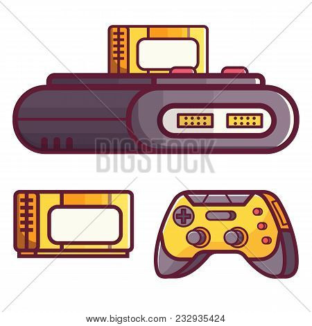 Retro Classic Tv Game Console. Vintage 8 Bit Console System With Cartridge Or Cassette And Controlle