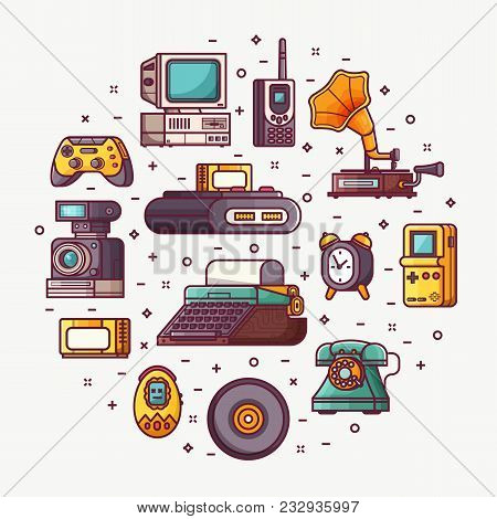 Vintage Technology, Things And Objects. Flea Market Or Antiques Shop Card With Line Icons Stylized I