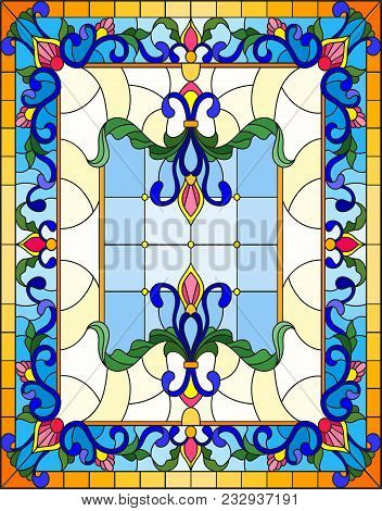 Llustration In Stained Glass Style With Abstract  Swirls,flowers And Leaves  On A Light Background,v